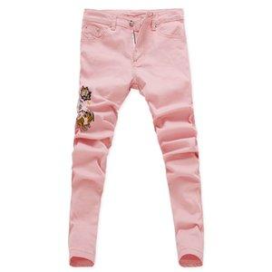 Fashion-2019 Новая модная цветочная мужская эластичная джинсовая ткань с цветочным принтом