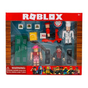 ROBLOX trabalhar em um Pizza Place Jogo 4pcs / PVC Suíte Dolls Brinquedos pacote de sete centímetros Modelo Figurines Presentes Coleção de Natal para Crianças