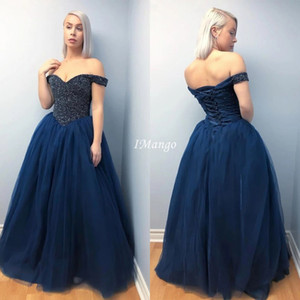 Luxury Ball Gown Princess Quinceanera Dresses Off The Shoudler Sequins Beaded Lace-Up Back Floor Length Sweet 16 Prom Party Gowns