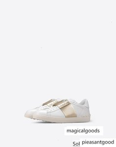 Top Men Women Letter V Punk Rivets Flat Couple Genuine Leather White Gold Casual sports Shoes Sneakers Size 35-46