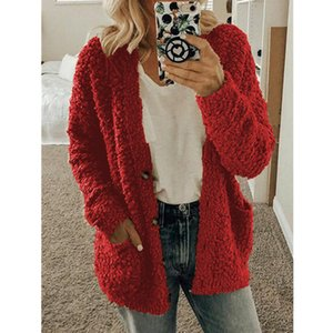Allyzozo Women Autumn Winter Buttons Pockets Cardigans Streetwear Warm Casual Cotton Red Cardigan Clothing Plus Size 5XL