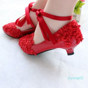 Red bridal lace strappy wedding shoes handmade bridesmaid shoes low heel white performance flat-bottomed photo shoes