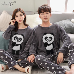 여성 겨울 따뜻한 잠옷 남녀 커플 만화 파자마 동물 파자마 정장 잠옷 여성 / 남성 홈 의류 PijamasLY191112을 설정합니다