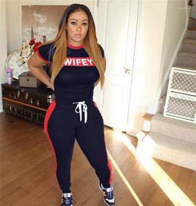 Pezzo donna slim set lettera di estate 2pcs Pantaloni Abbigliamento casual Womens Stampa Wifey 2