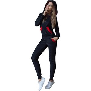 Fashion Autumn Winter Tracksuit Women Hoodies Sweatshirts+ Long Pants Two Piece Set Outfits Knitted Elastic Waist Black Set Drop Shipping