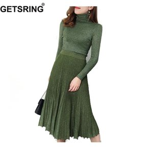 GETSRING Womens Skirt Set knitted Winter Vintage Long Sleeve Knitted Skirt Set Female Sweater Skirt Pleated Two Piece Set Autumn T200702