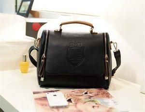 مصمم 2019 النسخة الكورية من جديد التاج البريطاني المزدوج سحب الأزياء حقيبة الكتف المحمولة رسول حقيبة حقائب اليد الرجعية