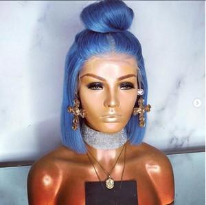 Remy Preplucked Light Blue 100 Echthaar Perücke Echthaar farbige Kurze Bob Lace Front Perücken für Frauen