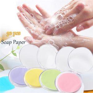 50pcs desechable en caja de jabón desplazamiento del papel portable de la mano de lavado Hojas Box Mini perfumado rebanada de papel del jabón Herramientas Aire libre Clean