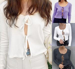 Mulheres Moda Sólidos Sexy Crochet Lace Up oco Out Magro Top Curto Casual malha de algodão Camisolas Cardigans