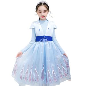 Cosplay Snow Queen II para meninas Partido vestidos de camisola Falso Two Piece Set Carnaval Kid Lace Princesa Frock Crianças Roupa M949