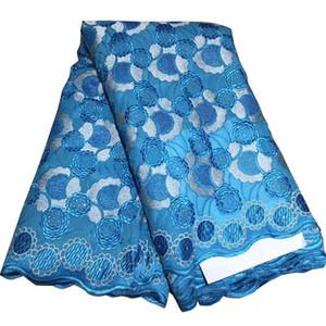 Alta calidad africana de Nigeria tela del cordón para la boda 2019 nupcial cordones de tela azul púrpura francesa suiza del cordón de la tela con los granos BF0027