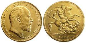REINO UNIDO Raro 1908 moeda britânica Rei Edward VII 1 Soberano Matt 24-K Banhado A Ouro Cópia Moedas Frete Grátis