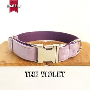 MUTTCO détaillant collier personnalisé de collier de chien de compagnie LE VIOLET auto-design réglable chat plaque signalétique collier Colliers chiot laisse 5 tailles UDC082