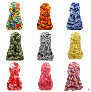 Miltary Camouflage Silky Durag Hot Colorful Premium 360 Olas Long Tail Sedky Durags Hiphop Gorras para hombres y mujeres Alta calidad Du-rag