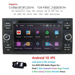 "7"" 4 Core Android 10 2 Din Car Radio DVD-плеер для Mondeo S-max Focus C-MAX Galaxy Fiesta transit Fusion Connect Kuga car dvd"