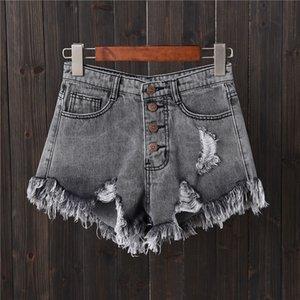Denim şort gri delik satır toka büyük boy Kot kadın yaz ince geniş bacak pantolon sıcak pantolon kenar