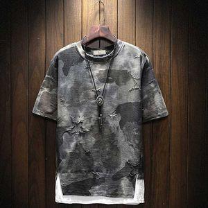 Men Fake 2 Pieces Fashion T Shirt Plus Size Hip Hop Streetwear Summer Camouflage Oversize Tess High Quality Couple Shirt