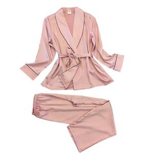 2019 Sommer neue Frauen arbeiten reizvolle Silk-Like-Pyjamas Revers Freizeit Silk Haushalt Kleidung reizvolle Nightgown-2-teiliges Set Frauen