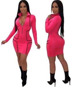 Mulheres V profundo Bodycon Vestidos Frente Zipper Designer Vestido justo Slim Fit Skinny Vestido Womens Sexy Sólidos Vestido Cor