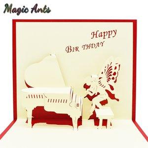 Фортепиано Ангел вверх поздравительные открытки с конвертом наклейки лазерная резка приглашения поздравительные открытки выпускные творческие подарки карты