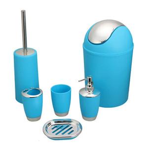Botellas Accesorios de baño azul Set 6 piezas de plástico Gift Set cepillo de dientes cepillo de dientes titular de la Copa dispensador de jabón Hand Sanitizer SH190919