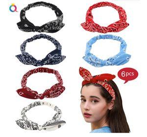 Boho Bow Headbands for Women Vintage Elastic Paisley Bandana Flower Printed Hairband Elastic Rabbit ear Head Wrap Cute Hair Accessories