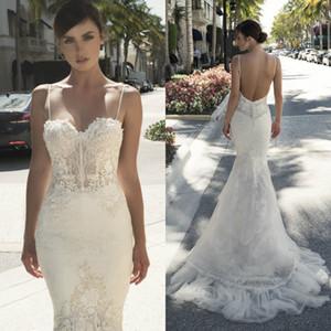 Netta Ben Shabu Sirena Vestidos de novia 2019 Ilusión Apliques de encaje Spaghetti Vestidos de novia Volantes Tren de barrido Vestido de novia