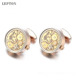 Newest Functional Watch Movement Cufflinks For Men Stainless Steel Gold Steampunk Gear Watch Mechanism Cuff links With Glass SH190925