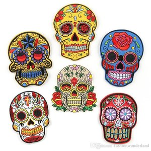 Skull Smile Rose Flower Halloween Embroidery Patches Sew Iron On Applique Repair DIY Badge Patch For Kids Clothes Jacket Bag Garment