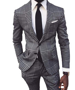 Custom Made Groomsmen Peak Lapel Groom Tuxedos Houndstooth Men Suits Wedding Prom Dinner Best Man Blazer ( Jacket+Pants+Tie ) A950