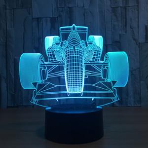 سباق سيارة هدية الاكريليك يلة 3D مصباح تابيل الخفيف سبعة لون مصباح السرير الأطفال الإبداعي ل