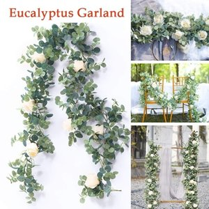 Eucalyptus Garland with Rose Flowers Artificial Vines Faux Silk Greenery Wedding Backdrop Arch Wall Decor for Home Dinning Table