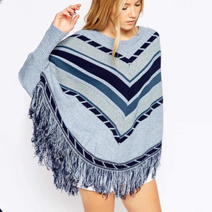 Women Tassel Batwing Sleeve Sweater Geometric Patchwork Color Irregular Pullover Loose Cape