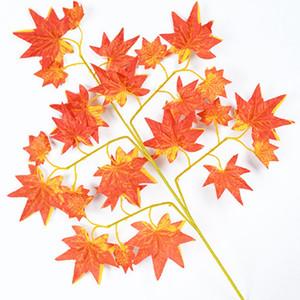 12pcs Simulação Maple Leaves falsificação flor casamento flores artificiais de seda Maple Leaves para decoração festa de casamento