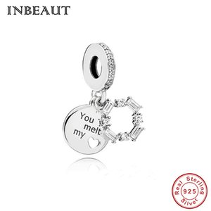 Pandora Style 925 Sterling Silver You Melt My Heart Carta Tallado Colgante Beads fit Pandora Pulsera Forever Love Cycle Charm Navidad