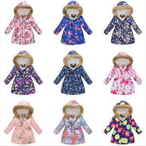 Детские вниз пальто Мальчики Девочки Цветочные пальто зима теплая обувь Дети куртки Хлопок Zipper пальто Детская одежда и пиджаки 36 цветов WY51Q