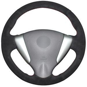 Cubierta del volante del coche de gamuza negra para Nissan Tiida Sylphy Sentra Versa Note 2014-2017