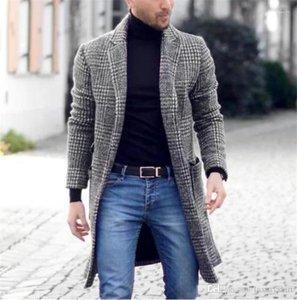 Imprimé noir en vrac manches longues à carreaux Lapel Neck hiver homme Manteaux d'hiver Casual Male Manteaux Hommes Blends