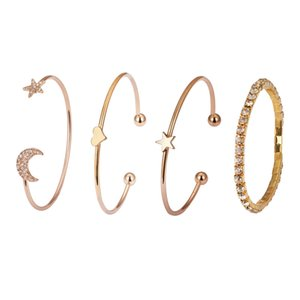Jóias Bangles Simples Mulheres Bracelet estrelas Lua Coração Pulseiras Moda Rhinestone mão jóias feitas na moda liga Bransoletka