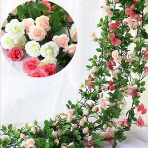 Künstliche Blumen Ivy Vine Leaf Garland 2,45 Millionen Lange Silk Rosen-Blumen-Hochzeit Hauptdekoration Kranz-Hochzeit bevorzugt LXL838-1