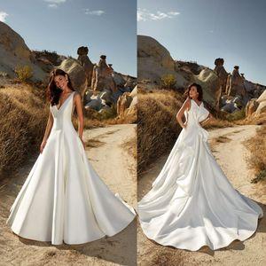 Eddy K 2020 Beach A Line Satin Wedding Dresses V Neck Desginer Back Boho Wedding Dress Bridal Gowns Vestido Country robe de mariée