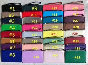 Niñas PU cuero billetera pulsera cremallera monedero bolso de embrague al aire libre viaje deportes tarjeta de crédito bolsas de dinero bolsos mujer bolso monedero monedero 32 colores