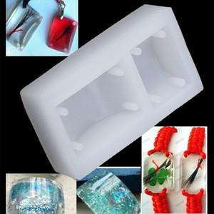 Rectángulo Silicona DIY Molde Pulsera Colgante Joyería Fabricación Molde Resina Agujero