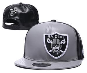 Nova Chegada Popular Hip Hop Raider Cinza Couro Couro Chapéus Esporte Tudo Team Ajustável Headwear Cap Sports Classic Snapback Caps
