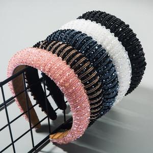 Yeni Moda Kafa İçin Kadınlar Kalın Sünger Hairband El yapımı Rhinestone Sicim Saç Bandı Barok Saç Aksesuarları Yetişkin