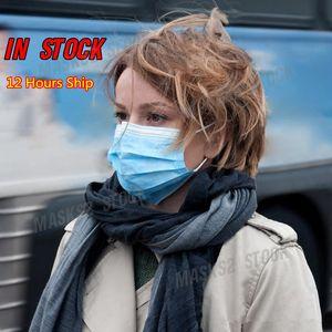 7339044 12 horas Entrega! Descartável Máscara Facial 3 Camada Ear-circuito Tampa 3-Ply não-tecido máscara descartável de pó macio respirável exterior máscaras