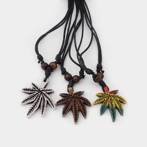 12pcs / lot Résine Blanc / Brun / Rasta Style de Maple Leaf Pendant Pot avec de la cire noire coton bijoux collier cordon