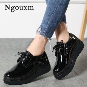 Ngouxm весна осени Женского лакированной Flats платформа обувь Оксфорд Узелок Обувь Женская Женщина Derby