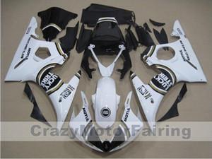 3Gifts New ABS moto moulage plastique Carénages Kits Fit YAMAHA YZF-R6-600 2003-2005 03 04 05 Carénage carrosserie blanc froid noir